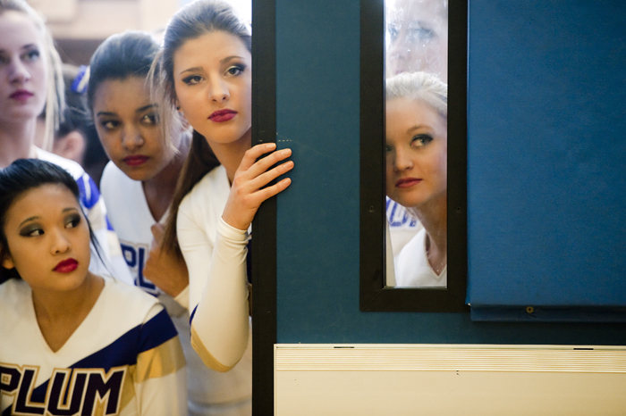 From right to left, Jenny Campbell, Haley Pilston, Sam Kolar, Lisa Reddington wait to compete in the WPIAL Competitive Spirit championships on Saturday, Jan. 10, 2015 at Hempfield Area High School.