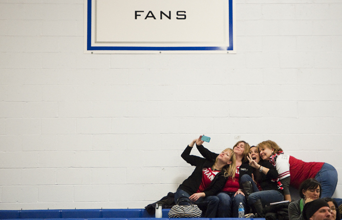 "North Hills fans take a ""selfie"" before their team competes in the WPIAL Competitive Spirit championships on Saturday, Jan. 10, 2015 at Hempfield Area High School."