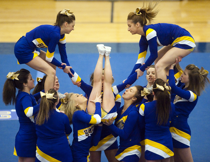 Hampton competes in the WPIAL Competitive Spirit championships on Saturday, Jan. 10, 2015 at Hempfield Area High School.