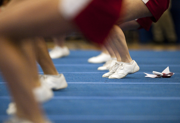 A ribbon rests on the dance floor as Neshannock competes at the WPIAL Competitive Spirit championships on Saturday, Jan. 10, 2015 at Hempfield Area High School.