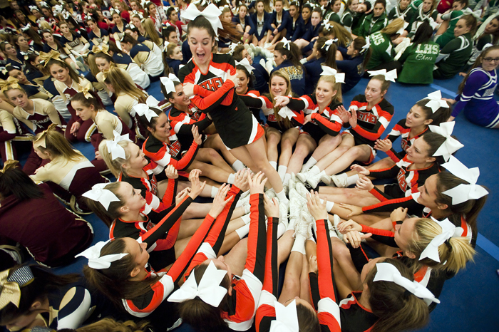 Bethel Park cheerleader Erin Brown reacts as she is pushed around while waiting for champions to be named at the WPIAL Competitive Spirit championships on Saturday, Jan. 10, 2015 at Hempfield Area High School.