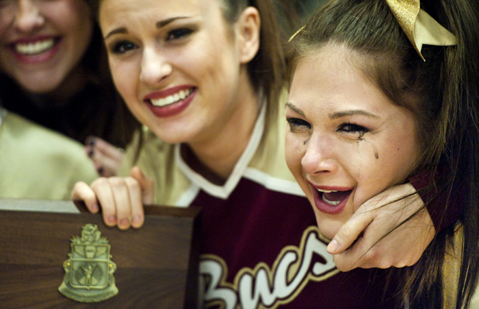 Chartiers-Houston cheerleader Jenna Vulcano reacts after winning the WPIAL Competitive Spirit championships on Saturday, Jan. 10, 2015 at Hempfield Area High School.