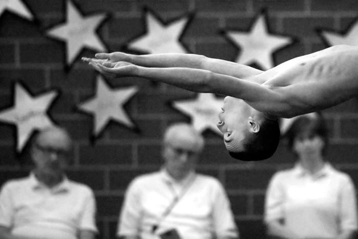 Hempfield diver Tate Yawitz dives in the Westmoreland County Coaches Association championship on Friday, Jan. 30, 2015 at Derry High School.