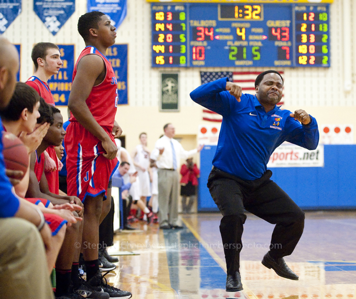 Jeannette head coach Adrian Batts reacts after Anthony Schmitt was called for a technical foul for hanging on the rim against Eden Christian Academy during the WPIAL semifinal A boys basketball game on Tuesday, Feb. 24, 2015 at Hampton High School. Jeannette won 52-40.