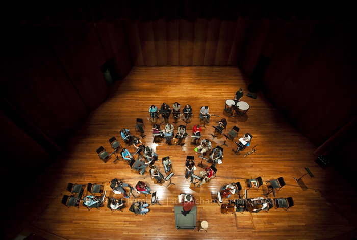 Westmoreland Youth Symphony conductor Morris Brand rehearses his musicians on Thursday, Feb. 26, 2015 at Seton Hill University's Performing Arts Center in Greensburg.