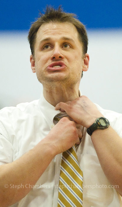 Seton-La Salle head coach Spencer Stefko loosens his tie after Bellwood-Antis made a foul shot during the PIAA quarterfinal on Friday, March 13, 2015 at Hempfield Area High School. Seton-La Salle won 63-60.