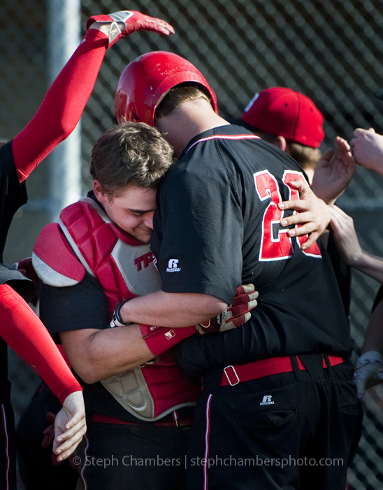 Southmoreland catcher Andrew Polikovsky embraces Doug Leighty after Leighty's home run against Greensburg Salem on Monday, April 13, 2015 at Greensburg Salem High School. Southmoreland won 9-6.