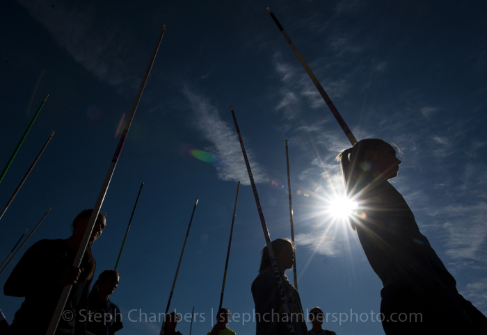 Girls warm up in the pole vault area at the Class AA PIAA track and field championships at Shippensburg University on May 23, 2015 in Shippensburg.