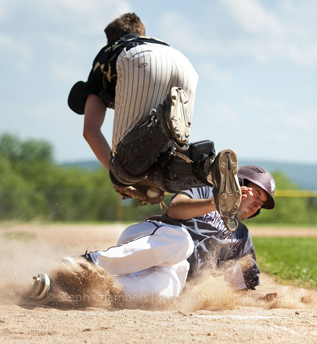 Greensburg Central Catholic's Jake Nesser collides with Riverview's Brandon Davis at home plate on Tuesday, May 12, 2015 at Mt. Pleasant Area High School. Nesser was tagged out. GCC won 11-1 in five innings.
