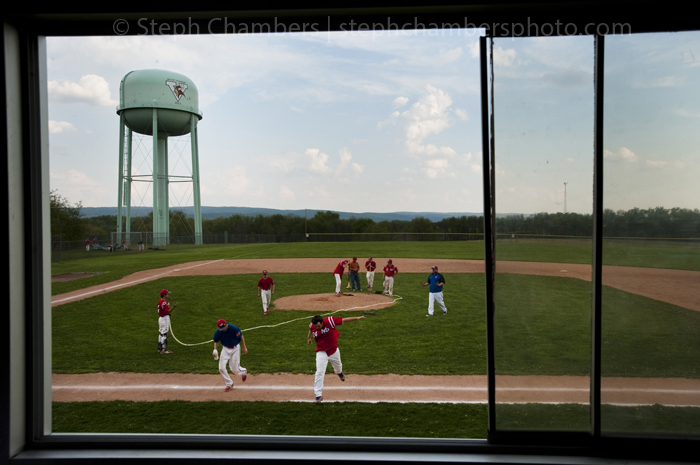 Mt. Pleasant cleans up their baseball field after their 15-5 win over Derry on Wednesday, May 6, 2015 at Mt. Pleasant High School.
