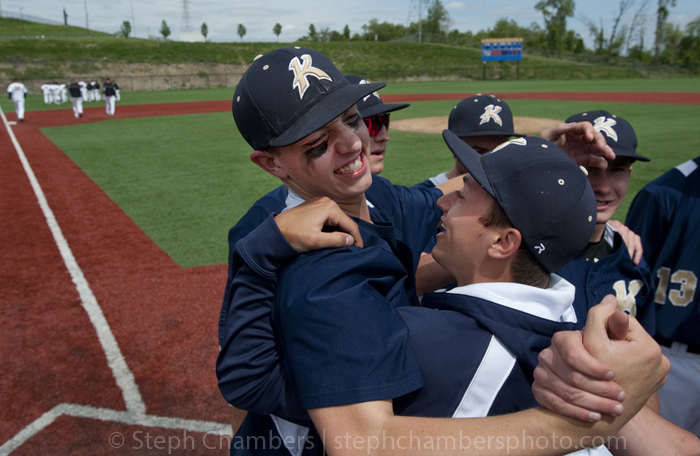 Knoch pitcher Alex Stobert reacts with teammates after their win over Montour during the WPIAL Class AAA semifinal game on Wednesday, May 20, 2015 at West Mifflin High School. Knoch won 2-0.