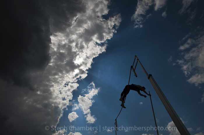Hempfield's Hayden Fox touches the bar during his pole vault at the Class AAA PIAA track and field championships at Shippensburg University on May 22, 2015 in Shippensburg.