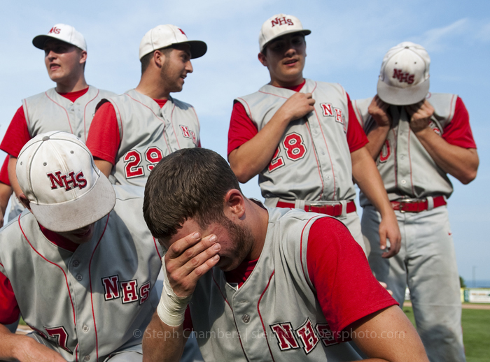 Neshannock's Thomas Scott is overcome with emotion after beating Neumann-Goretti during the PIAA Class AA baseball title game at Penn State's Medlar Field at Lubano Park on Friday, June 12, 2015. Neshannock won 9-0.