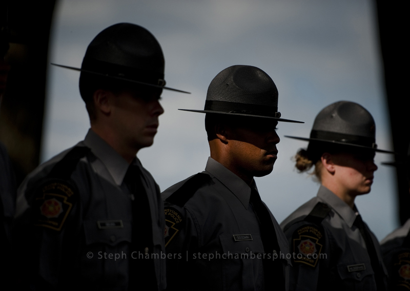 Pennsylvania state police cadets stand during a formal inspection on Wednesday, Aug. 5, 2015 at the Pennsylvania State Police Academy in Hershey, Pa. There is a major recruiting pitch for new cadets to replace a large number of state police troopers who are retiring. Though the full complement of troopers is supposed to be over 4,600 statewide, the current number is down by more than 300 troopers and is continuing to decline. In addition, 50 percent of the remaining troopers are going to be eligible to retire over the next four years.