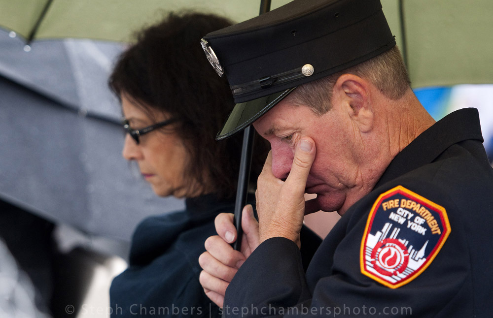 William Battcock, a retired member of the New York City Fire Department, reacts at the dedication of the Flight 93 National Memorial Visitor Center on Thursday, Sept. 10, 2015 near Shanksville. The $26 million center opened on this eve of the 14th anniversary of the Sept. 11, 2001 terrorist attacks.