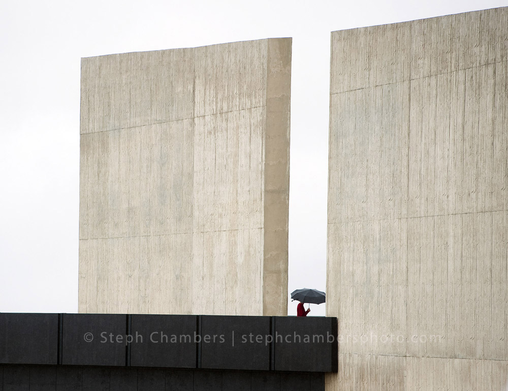 A man makes his way through the Flight 93 National Memorial Visitor Center on Thursday, Sept. 10, 2015 near Shanksville. The $26 million center opened on this eve of the 14th anniversary of the Sept. 11, 2001 terrorist attacks.