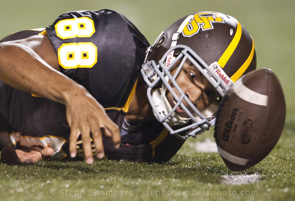 Greensburg Salem's Imuni Wespi (88) watches his fumble against Gateway during the WPIAL football opening night on Friday, Sept. 4, 2015 at Offutt Field in Greensburg. Gateway won 28-10.