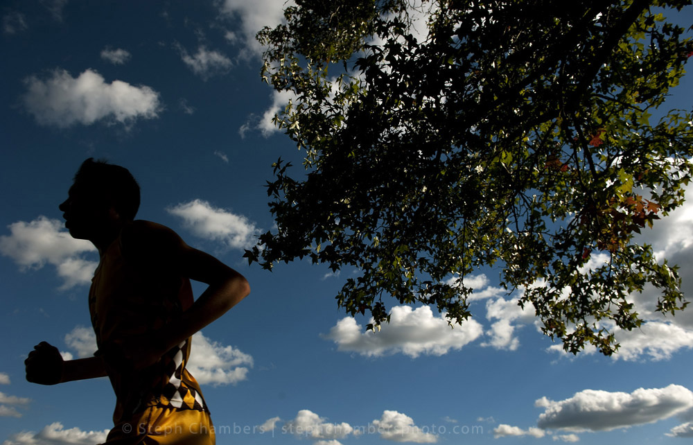 A Greensburg Salem runner races during the Westmoreland County Coaches Association cross country meet on Thursday, Oct. 15, 2015 at Westmoreland County Community College.