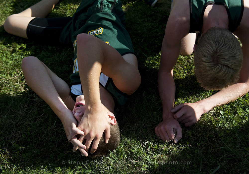 Two members of Penn-Trafford collapse after the Westmoreland County Coaches Association cross country meet on Thursday, Oct. 15, 2015 at Westmoreland County Community College.