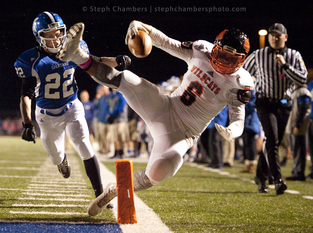 Latrobe's Jason Armstrong (6) is pushed out of bounds by Hempfield's Colin Critchfield (22) just short of a touchdown during a football game on Friday, Oct. 16, 2015 at Hempfield Area High School. Hempfield won 62-12.