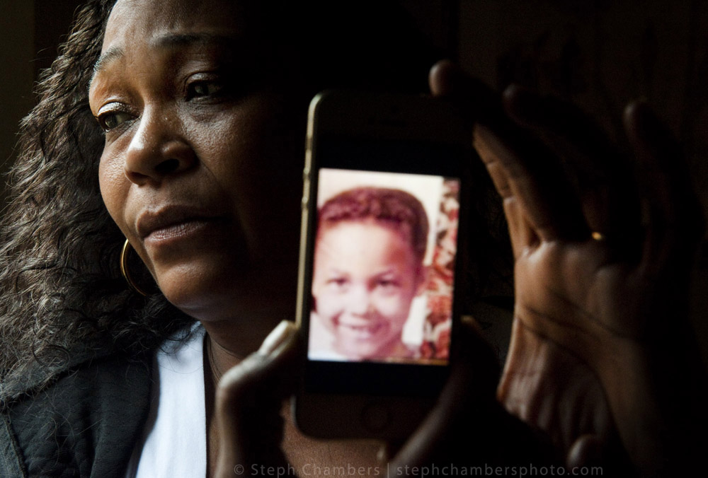 Mary Thompson, 51, poses for a portrait with a photograph of her sister Teala on Friday, Oct. 30, 2015 at her home in Pitcairn. Thompson believes the unidentified body being exhumed at Potter's Field in Hempfield is Teala, who was 13 when she went missing on in 1967.