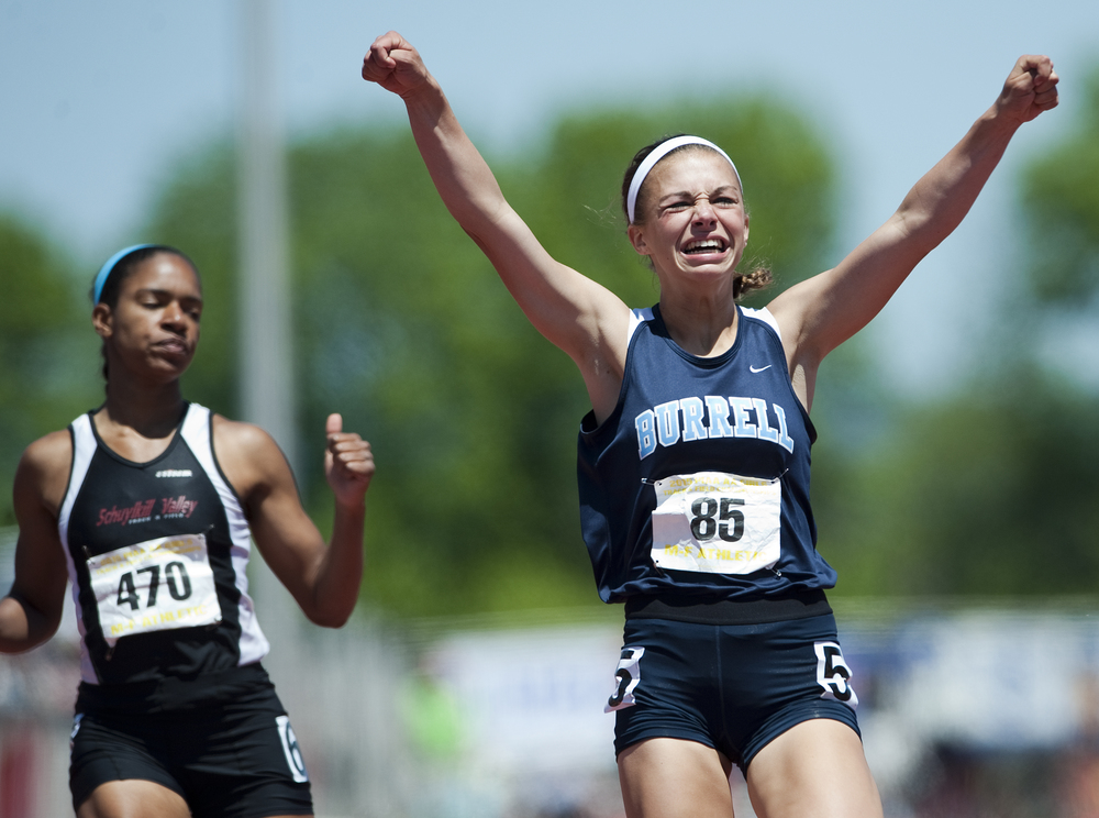 Burrell's Nicole Scherer reacts after winning the 100-meter dash at the Class AA PIAA track and field championships at Shippensburg University on May 23, 2015 in Shippensburg. Scherer's time was 12.32.