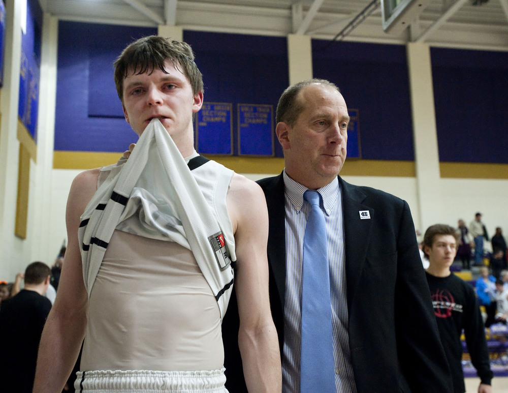 Homer-Center's John Ireland reacts after his teams loss to Sewickley Academy during a PIAA playoff game on Tuesday, March 8, 2016 at Plum High School. Sewickley Academy won 48-38.