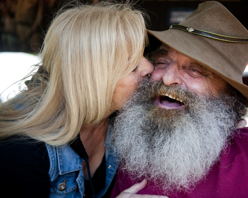 "Owner of Benner's Meadow Run campground Marylou Rohlf kisses ""Mountain Monsters"" television star Trapper during the 2016 Pennsylvania Bigfoot Camping Adventure at Benner's Meadow Run campground near Farmington on Saturday, May 7. Rohlf said over 225 tickets were sold, and she welcomes the first-time event again next year. TV shows like ""Mountain Monsters"" and ""Finding Bigfoot"" has spoked tremendous interest in Bigfoot, said several attendees. The Farmington area has been known as a Bigfoot hotbed with numerous encounters reported by campers, hunters and locals."