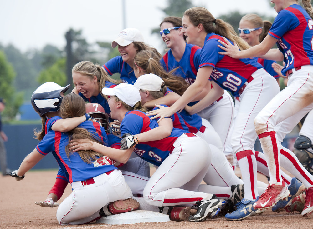 Williams Valley celebrates their win over West Greene during the Class A PIAA Softball Championships Thursday, June 16, 2016 at Penn State University. Williams Valley won 3-2.