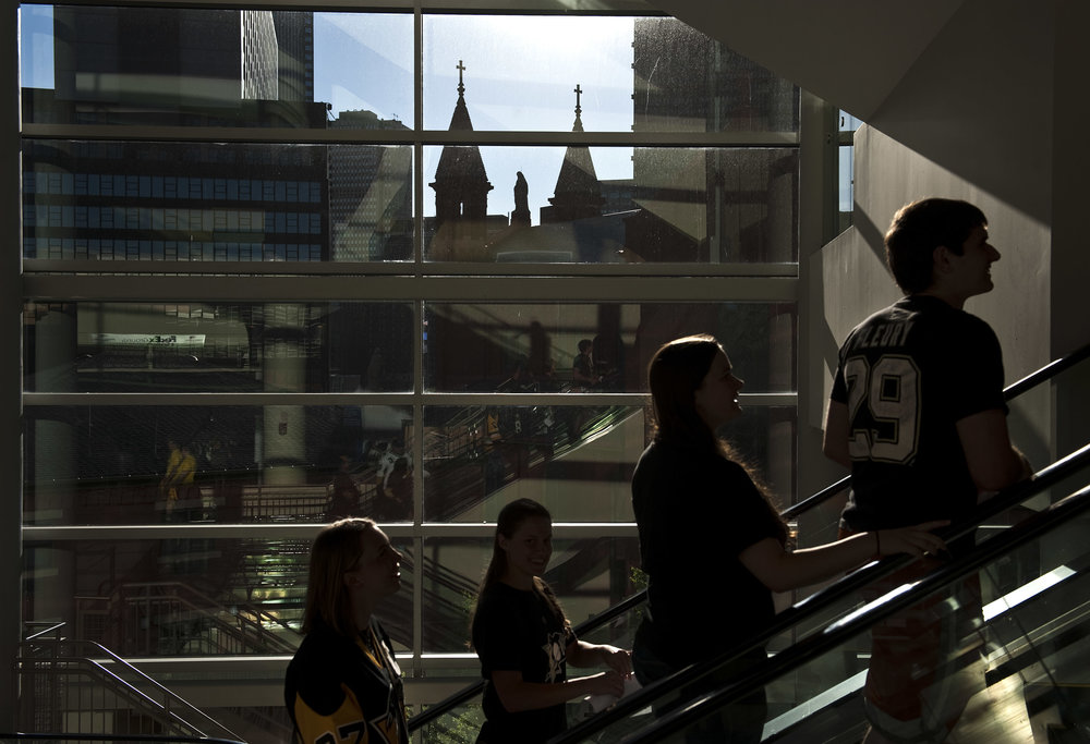 Fans trickle into Consol Energy Center during the Stanley Cup Finals, between the Pittsburgh Penguins and the San Jose Sharks, Game 6 indoor watch party at Consol Energy Center on Sunday, June 12, 2016.