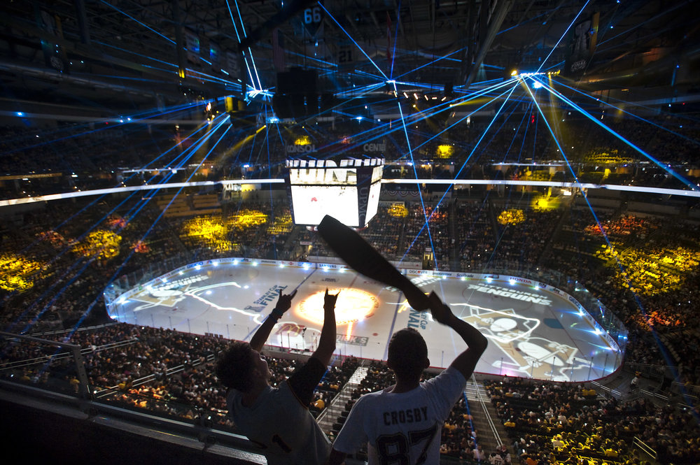 Chris Hankin, right, and Anthony Rack of Bethel Park cheer during the Stanley Cup Finals, between the Pittsburgh Penguins and the San Jose Sharks, Game 6 indoor watch party at Consol Energy Center on Sunday, June 12, 2016.