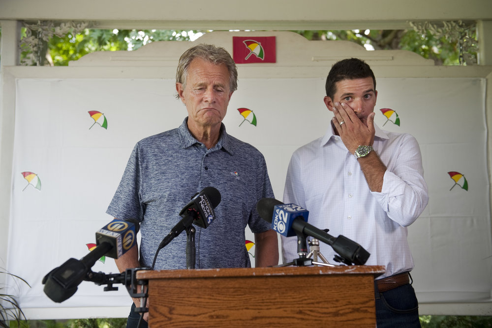 Chairman of Arnold Palmer Enterprises Alastair Johnston and Arnold Palmer's grandson Sam Saunders react during a press conference at Latrobe Country Club on Monday, Sept. 26, 2016. Arnold Palmer, 87, died Sunday night.