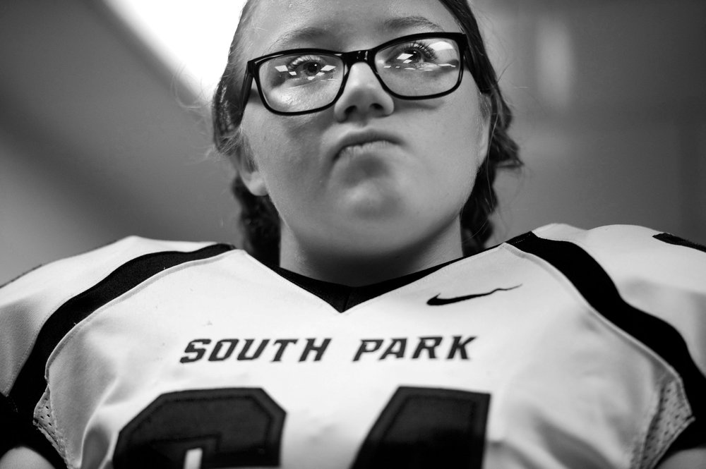 South Park's Mia Daube listens to her coaches' pep talks before playing Derry on Friday, Sept. 23, 2016 during a football game at Derry Area High School. Derry won 35-23.