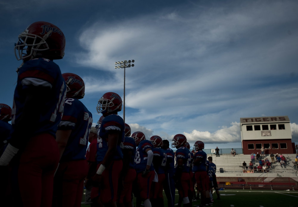 The sun begins to set as McKeesport prepares to play Franklin Regional on Friday, Sept. 2, 2016 in McKeesport. McKeesport won 14-7.