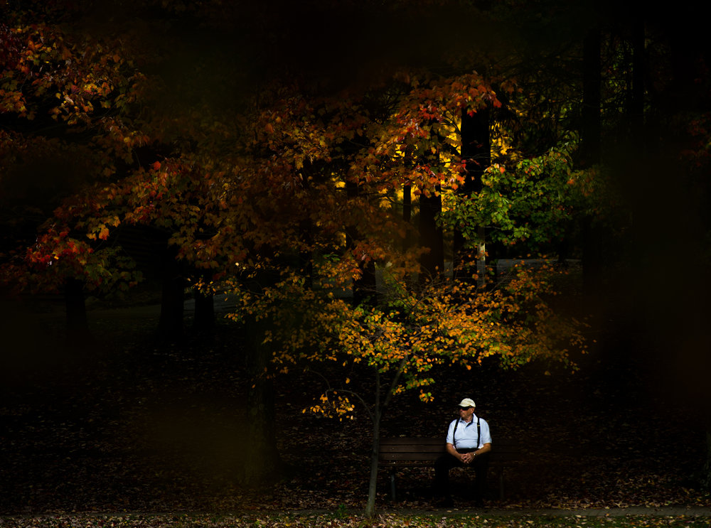 "Stanley Katzman of Greensburg rests on a bench under fall foliage at Twin Lakes Park on Tuesday, Oct. 18, 2016. ""I consider Twin Lakes Park and Mammoth Park little gems,"" Katzman said."