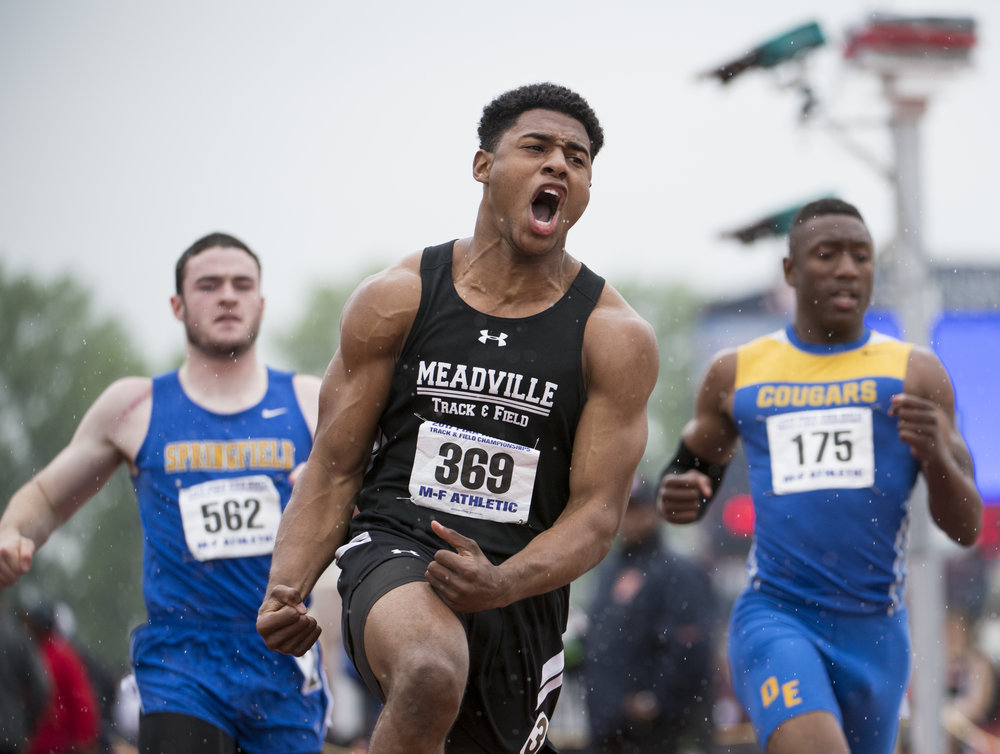 Meadville's Journey Brown reacts after winning the 100 meter dash with a time of 10.43 during the PIAA Track and Field Championships on Saturday, May 27, 2017 at Shippensburg University. (Steph Chambers/Post-Gazette)