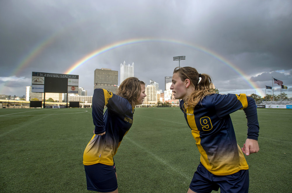 Western Pennsylvania School for the Deaf soccer players Danielle Fisher and Ryane Smalley pump each other up before a shootout during a championship game against Plants and Pillars Homeschool Co-op on Tuesday, Oct. 24, 2017 at Highmark Stadium. WPSD won in a shootout. (Steph Chambers/Post-Gazette)