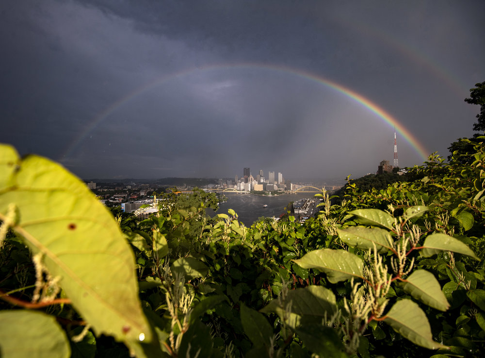 A double rainbow appears over Pittsburgh on Monday, Aug. 13, 2018, seen from West End-Elliott Overlook Park. (Steph Chambers/Post-Gazette)