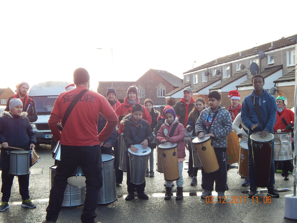 Beatlife Drummers at Granby Christmas Market 2017