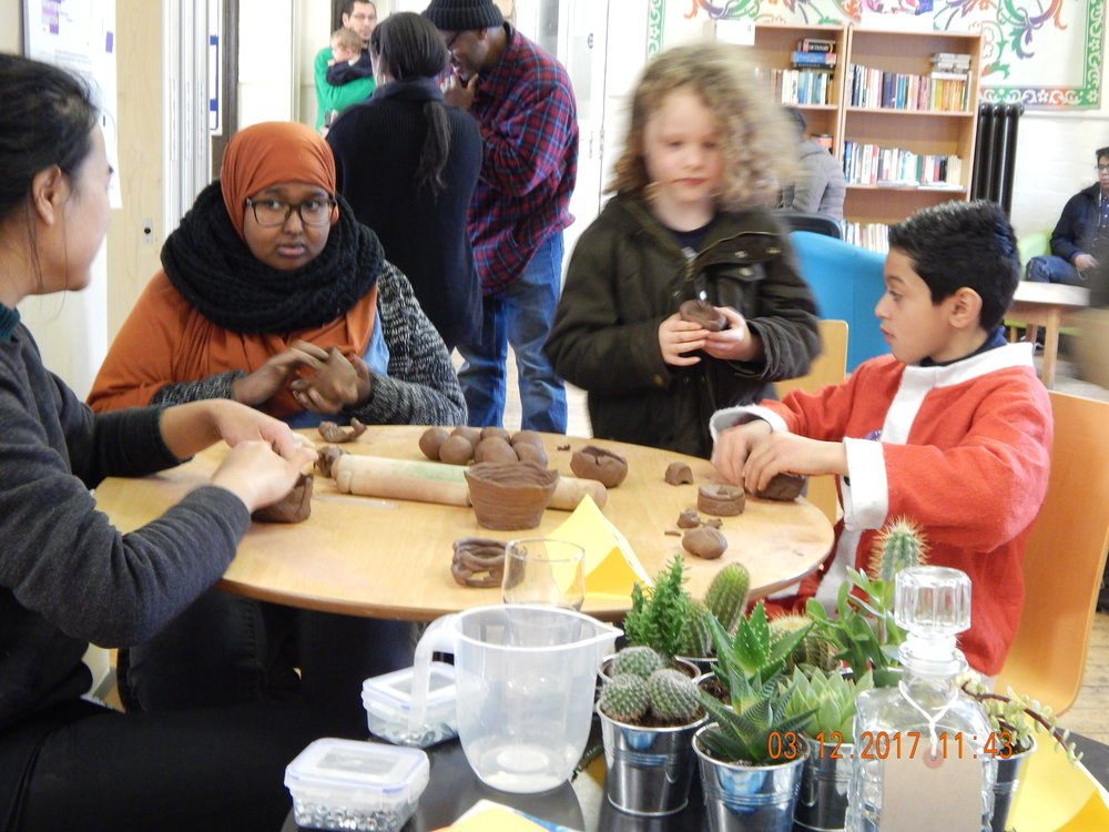 Kids' activities - pottery making with GWG at Granby Street Christmas Market 2017