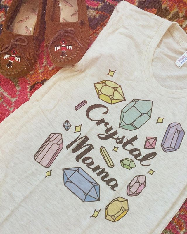 Sundays call for lounging in cute, soft tees.✨ Shop this Crystal Mama Tee through the link in my bio.💖