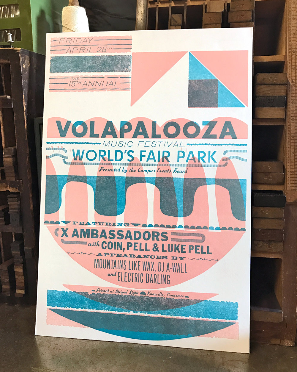 Two-color poster with handset type and hand cut linoleum by S. Shebaro. Hand printed for the Volapalooza 2016, Knoxville TN.
