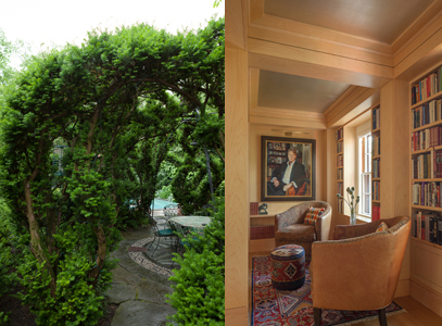 Views of the home's garden and library