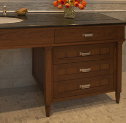Detail of master bath vanity made from walnut by KR+H.