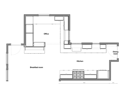 KR+H's Revit drawing of the floor plan shows how the kitchen wraps around into the office space.