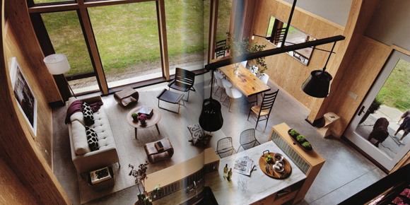 View of kitchen and living room from the loft.