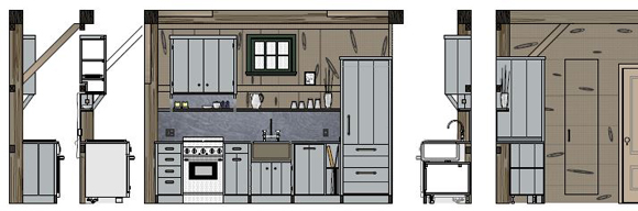 KR+H's drawing of the small loft kitchen for Sandy Pond Barn. Cabinets are made from reclaimed barn board finished in our shop with a slate-colored milk paint. Other design elements include a copper sink, Pietro del Cardosa limestone counters, shelving and cabinet feet made from blackened stainless.