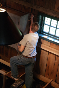 Andy installing the loft kitchen at Sandy Pond Barn.