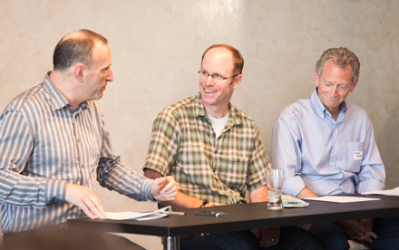 l to r: Moderator Kyle Hoepner with Mark Doughty, Thoughtforms, and Mike Collins, Michael D. Collins Architects