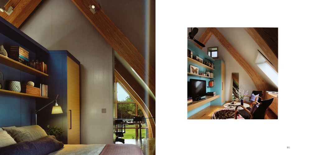KR+H's millwork and cabinetry provides both a partition and storage in the loft bedroom and media areas.
